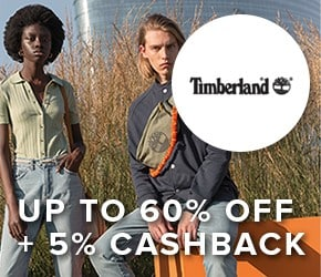 Up to 60% off + 5% cashback – Timberland