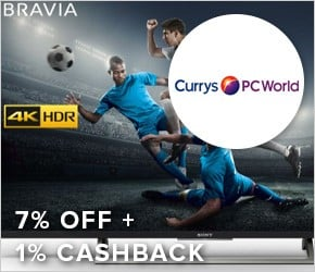 7% off + 1% cashback Currys PC World