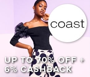 Up to 70% off sale + 6% cashback with Coast